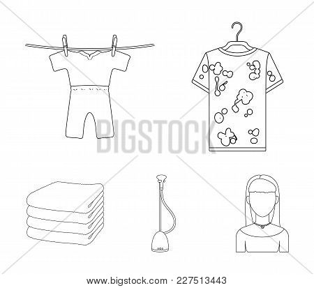 Vacuum Cleaner, A Stack Of Cloth, Dirty And Clean Things. Dry Cleaning Set Collection Icons In Outli