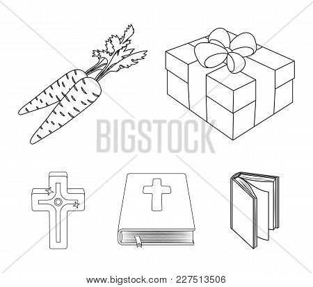 Cross, Bible, Gift And Carrots.easter Set Collection Icons In Outline Style Vector Symbol Stock Illu