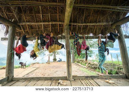 Lao Cai, Vietnam - Sep 7, 2017: Ethnic Minority Children Playing Outdoor In Y Ty, Bat Xat District