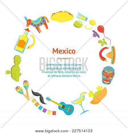 Cartoon Symbol Of Mexico Banner Card Circle Welcome Travel Concept American Culture. Vector Illustra