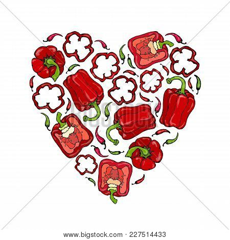 Heart Of Red Bell Peppers. Whal Pepper, Half Of Sweet Paprika, Cuts. Fresh Ripe Raw Vegetables. Heal