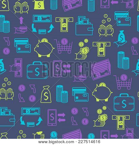 Symbol Of Money Finance Currency Seamless Pattern Background Cash Banknote And Coins Economy Busines