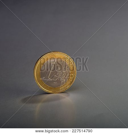 Coin One Euro. Currency Of The European Union. Gray Background.