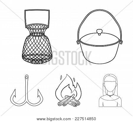 Catch, Hook, Mesh, Caster .fishing Set Collection Icons In Outline Style Vector Symbol Stock Illustr