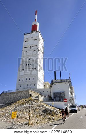 Mont-ventoux, France - September 1, 2016: Antenna Radio And Reception Facilities And Weather Station