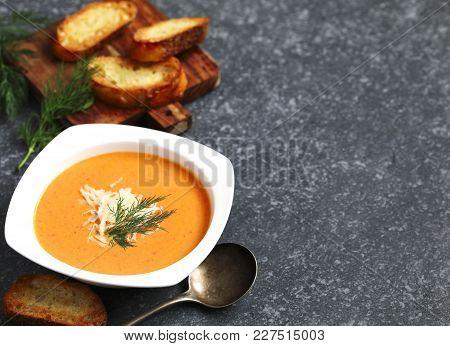Tomato Soup Served In Plate. Zuppa Di Pomodoro