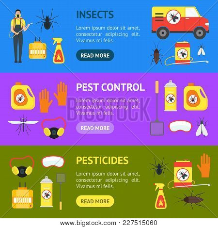 Cartoon Pest Control Service Business Banner Horizontal Set Equipment And Working Set Safety Home Fl
