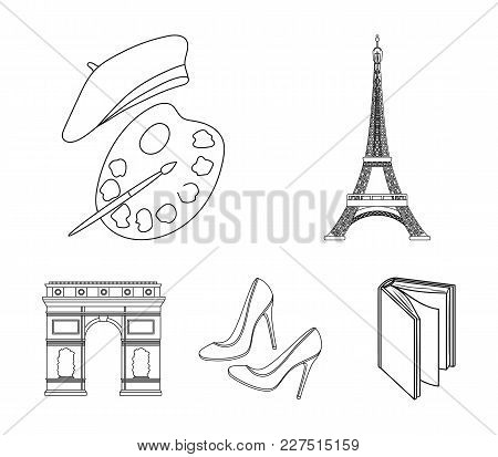 Eiffel Tower, Brush, Hat .france Country Set Collection Icons In Outline Style Vector Symbol Stock I