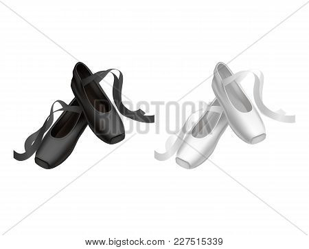 Realistic Detailed Ballet Black And White Pointe Shoes Fashion Pair For Dance. Vector Illustration O