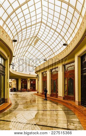 Oradea, Romania - February 10, 2018: The Black Eagle Palace And Glass Covered Passage, Landmark Of T