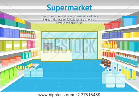 Cartoon Interior Shop Or Supermarket With Furniture Card Poster Shelves And Cash Register Terminal F