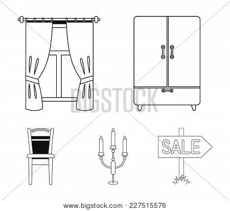 Wardrobe, Window With Curtains, Candlestick, Chair.furniture Set Collection Icons In Outline Style V