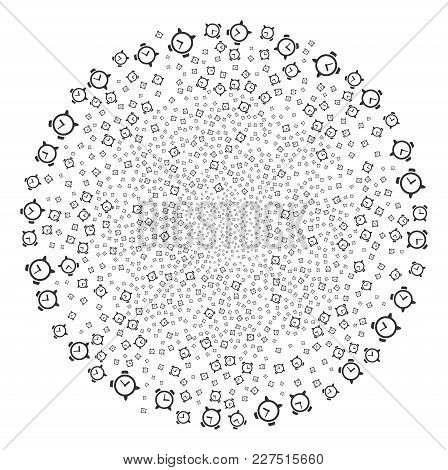 Alarm Clock Exploding Circle. Object Pattern Combined From Scattered Alarm Clock Icons As Exploding
