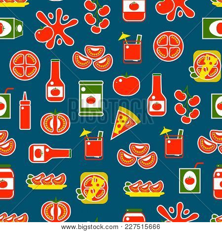 Cartoon Tomato Products Seamless Pattern Background On A Blue Include Of Pizza, Ketchup And Juice Fl