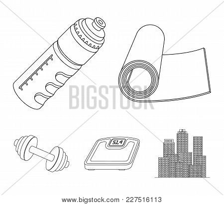 A Dumbbell, A Rug And Other Equipment For Training.gym And Workout Set Collection Icons In Outline S