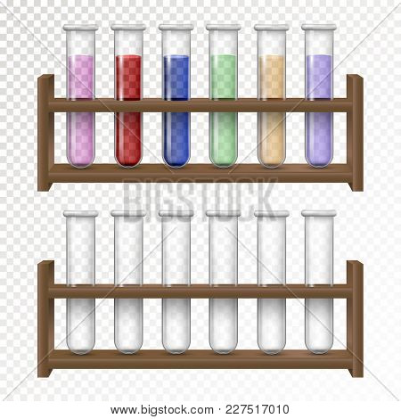 Laboratory Transparent Glassware Test Tubes With Colored Liquid. Empty And Filled Flasks For Chemica
