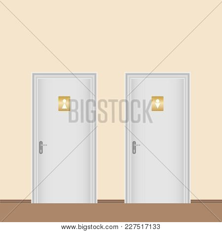 The Doors Of The Toilet. Male And Female Toilet. Flat Design, Vector Illustration, Vector.