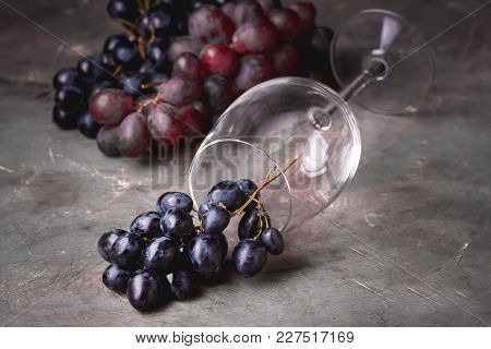Red Wine Glass And Red Grape Background Horizontal Background With Red Grape And Wine Glass