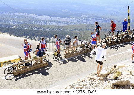 Mont-ventoux, France - September 1, 2016: Road Mont Ventoux Amount Borrowed By Many Cyclists And Car