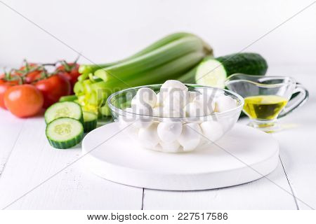 Bowl Of Bocconcini Mozzarella Fresh Tomatoes Cucumber Celery Olive Oil Italian Salad Healthy Food Wh