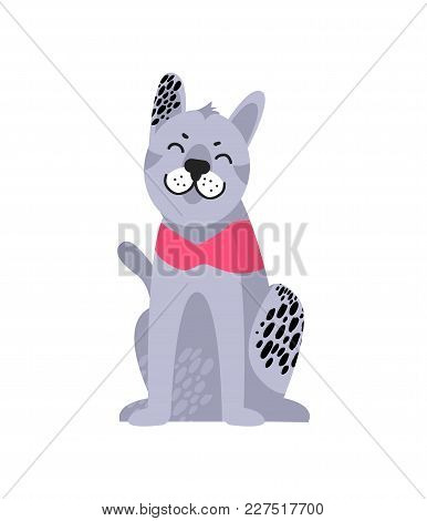 Grey Dog With Black Spots In Pink Collar Sitting On Floor Vector Illustration Symbol Of 2018 Year Is