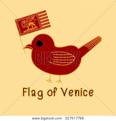 Color Imitation Of Venice Flag With Bird, Famous Animal
