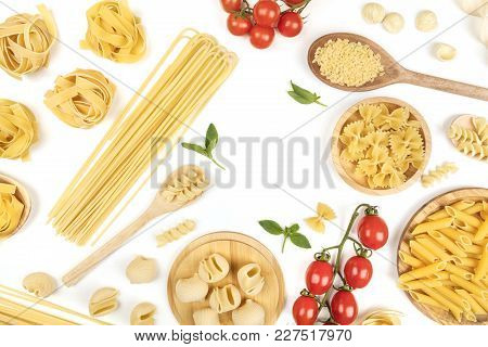 Overhead Photo Of Different Types Of Pasta, Spaghetti, Penne, Fusilli, And Others, With Cherry Tomat