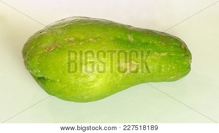 Closeup Of A Whole Chayote, Called Also Christophine, Cho-cho, And Pear Squash, Is An Edible Fruit P