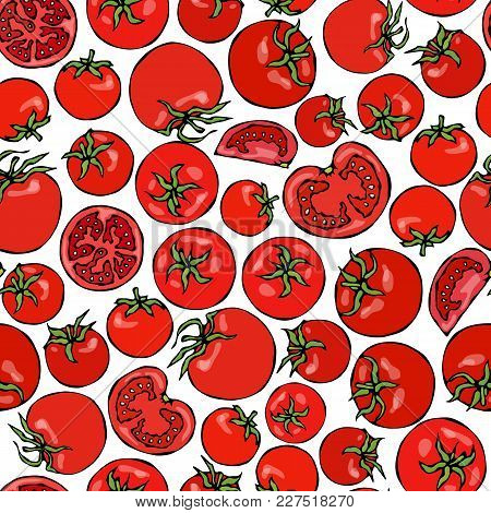 Seamless Pattern With Whole Tomato, Tomato Slices, Half Of Tomato And Cherry Tomatoes. Fresh Ripe Ve