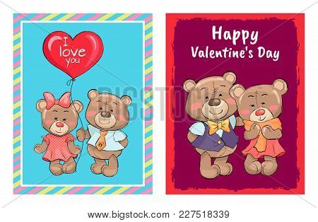 Happy Valentines Day Posters Set Couple Of Teddy Family, Boyfriend And Girlfriend Bears In Cute Clot