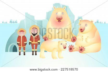 Character Of Polar Bears And Eskimos, Vector Of North Pole Life
