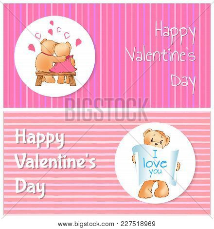 Happy Valentines Day Poster With Two Bears Hugging On Bench Back View, Teddy With Paper Scroll I Lov