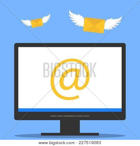 The Letter Came By E-mail. A Letter With Wings Flies To The Computer Monitor. Flat Design, Vector Il