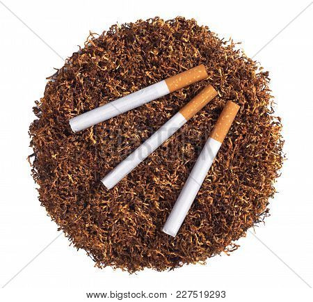 Tobacco And Cigarettes Isolated On White Background, Top View