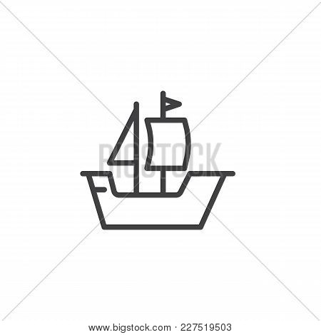 Sailing Ship Boat Outline Icon. Linear Style Sign For Mobile Concept And Web Design. Old Sailboat Si