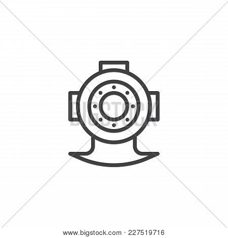 Diving Helmet Outline Icon. Linear Style Sign For Mobile Concept And Web Design. Simple Line Vector