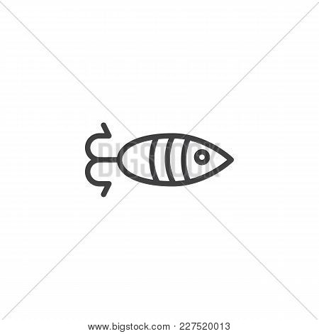 Fish Shaped Bait Outline Icon. Linear Style Sign For Mobile Concept And Web Design. Fishing Simple L