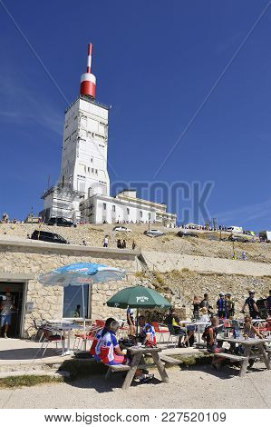 Mont-ventoux, France - September 1, 2016: Bar Restaurant At The Top Of Mont Ventoux Right At The Foo