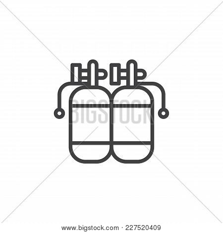 Twin Air Tanks Diving Kit Outline Icon. Linear Style Sign For Mobile Concept And Web Design. Diving