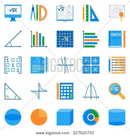Math Flat Icons. Vector Colorful Mathematics Or Algebra Creative Symbols Or Design Elements