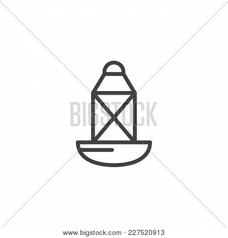 Sea Directional Buoy Outline Icon. Linear Style Sign For Mobile Concept And Web Design. Oil Lamp Sim