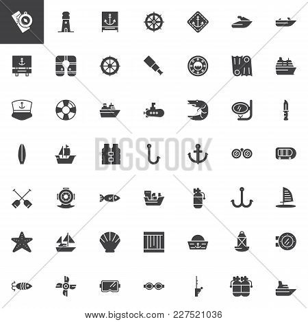 Nautical Vector Icons Set, Modern Solid Symbol Collection, Filled Style Pictogram Pack. Signs, Logo