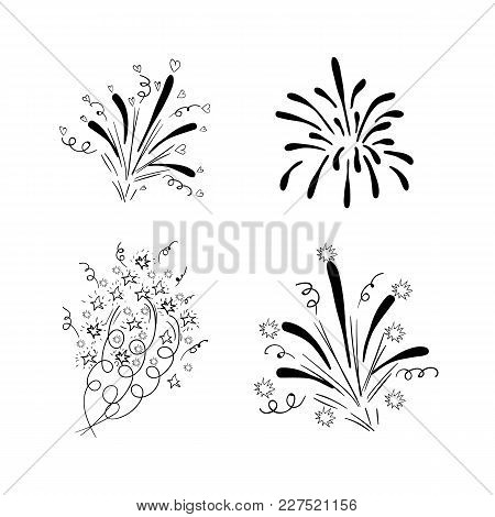 Vector Drawn Firework Explosions, Black Drawings Isolated On White Background, Birthday Wedding New