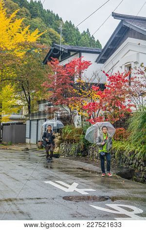 Akita, Japan - October 23,2017 : The Tourists Visiting On Street At Kakunodate Samurai District In A