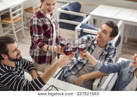Happy Celebration. Pretty Exuberant Dark-haired Young Woman Smiling And Drinking Wine With Her Frien