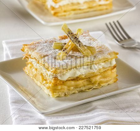 Mille-feuille Or Napoleon Pastry. A Tompoes Or Tompouce Is A Pastry In The Netherlands And Belgium.