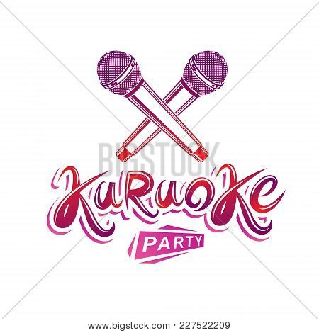 Karaoke Party Lettering, Rap Battle Vector Emblem Created Using Two Crossed Microphones Audio Equipm