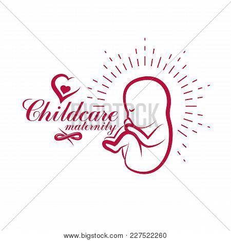 Vector Embryo Illustration. New Life Beginning Drawing. Maternity Hospital Advertising Flyer
