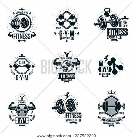 Vector Power Lifting Theme Emblems And Motivational Flyer Templates Collection Made Using Dumbbells,