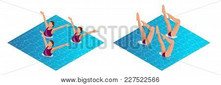 Isometric Womans Athlete On The Performance Of Synchronized Swimming Performing Art Elements. Swimmi
